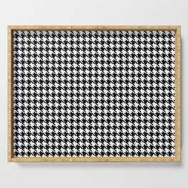 PreppyPatterns™ - Cosmopolitan Houndstooth - black and white Serving Tray