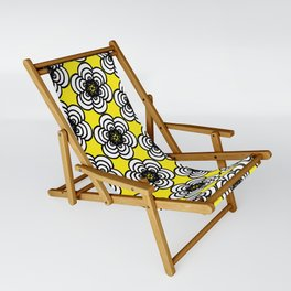 Yellow and Black Flowers Sling Chair