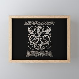 Old norse design - Two Jellinge-style entwined beasts originally carved on a rune stone in Gotland. Framed Mini Art Print
