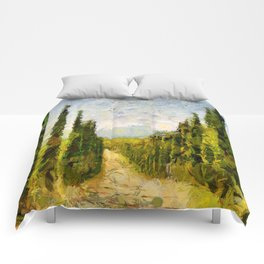 Rural landscape with cypresses Comforters