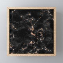 Chic abstract rose gold black elegant marble Framed Mini Art Print