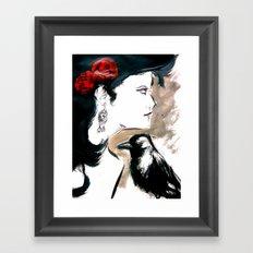 Red Rose Black Bird Framed Art Print