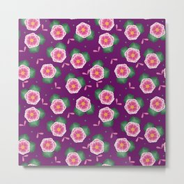 Pink Flowers | Dark Purple | Botanical Metal Print