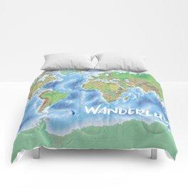 Wanderlust physical world map green/blue Comforters