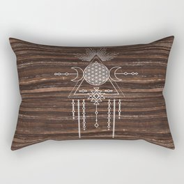 Triple Goddess - Flower of Life - Moon Phase - Shaman - Tribal - Sri Yantra - Brown Marble - Wood - Rectangular Pillow
