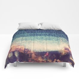 downtown Los Angeles at night photograph. Starry Night Comforters
