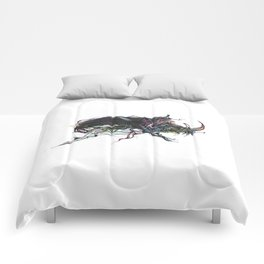 Beetle 1. Color & Black on white background Comforters