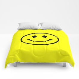 smiley face rave music logo Comforters