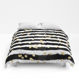Modern black watercolor stripes chic gold confetti Comforters