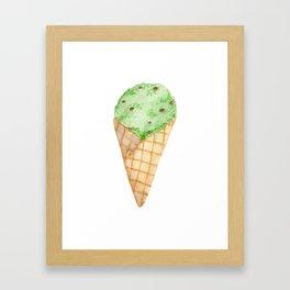 Watercolour Illustrated Ice Cream - Mint Choc Chip Framed Art Print