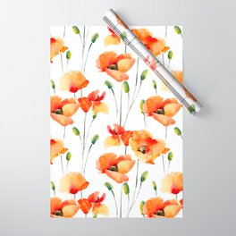 Hand Painted orange yellow watercolor poppies floral Wrapping Paper