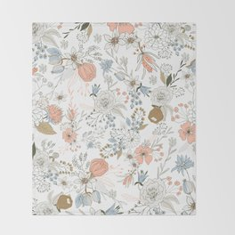 Abstract modern coral white pastel rustic floral Throw Blanket