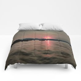 Sunset Shores In Pink And Grey Comforters