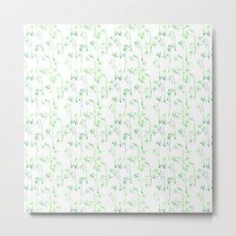 Modern hand drawn neon green watercolor white bamboo pattern Metal Print