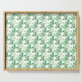 Abstract Spring Garden Butterfly Pattern Serving Tray