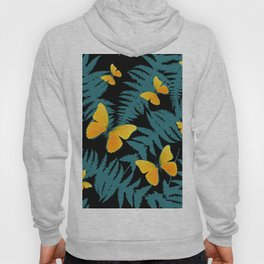Fern Fronds With Yellow Butterflies & Black Color Art Hoody