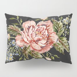 Pink Wild Rose Bouquet on Charcoal Pillow Sham