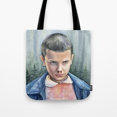 Stranger Things Eleven Watercolor Portrait Art Tote Bag
