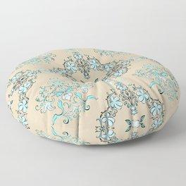 Vintage Floral - Light Blue Floor Pillow