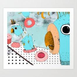 Cockatoo Making Muffins  Art Print