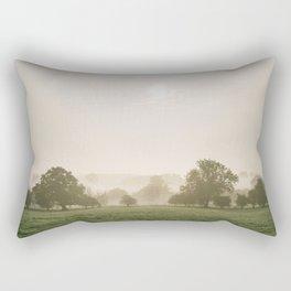 Sunrise burning through heavy fog over countryside scene. Norfolk, UK. Rectangular Pillow