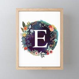 Personalized Monogram Initial Letter E Floral Wreath Artwork Framed Mini Art Print