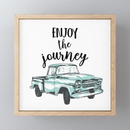 """""""Enjoy the Journey"""" Quote and Vintage Truck Framed Mini Art Print"""