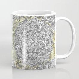 Yellow & White Mandalas on Grey Coffee Mug