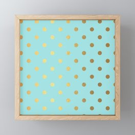 Gold polka dots on aqua background - Luxury turquoise pattern Framed Mini Art Print