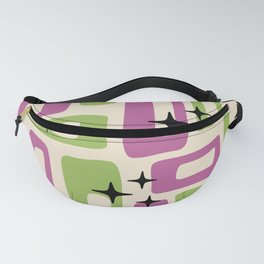 Retro Mid Century Modern Abstract Pattern 229 Purple and Olive Fanny Pack