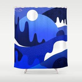 Terrazzo landscape blue night Shower Curtain