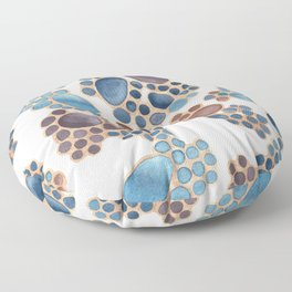 Pebbles in Plums on White Pattern Floor Pillow