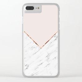 Peony blush geometric marble Clear iPhone Case