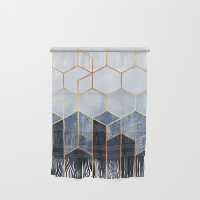 Soft Blue Hexagons Wall Hanging