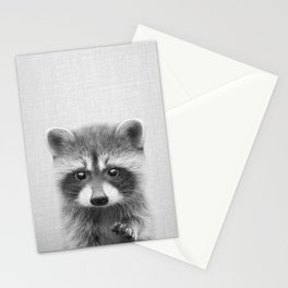 Raccoon - Black & White Stationery Cards