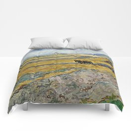 "Vincent van Gogh ""Enclosed field with ploughman"" Comforters"