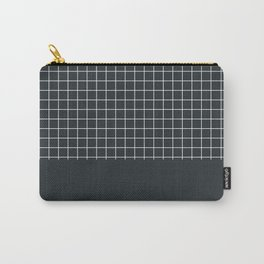 White grid on Dark Navy Blue Carry-All Pouch