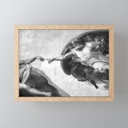 Black and White Creation of Adam Painting by Michelangelo Sistine Chapel Framed Mini Art Print