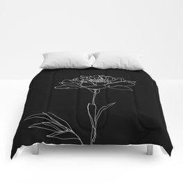 Rose line drawing - Lorna Black Comforters