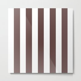 Rose ebony purple - solid color - white vertical lines pattern Metal Print