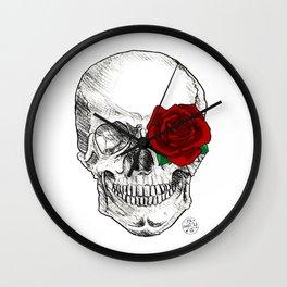 Rose Skull Wall Clock