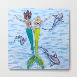 Floating Mermaids Metal Print