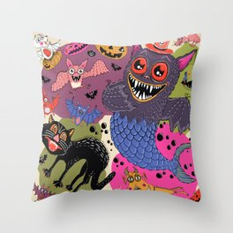 batty, catty and fishy(?!) for Halloween! Throw Pillow