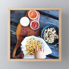 Beer and french fries in Patagonia Framed Mini Art Print