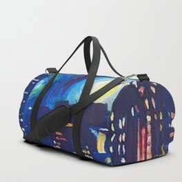 Painting Starry night in new york vincent van gogh Duffle Bag