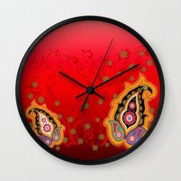 red jewel paisley border Wall Clock