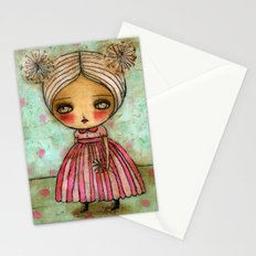 Dandelion Girl in Red And Pink Stationery Cards