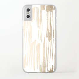 White Gold Sands Thin Bamboo Stripes Clear iPhone Case