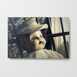Old Creepy Doll with Funny Hat Metal Print