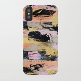 Modern abstract black pink salmon gold hand painted acrylic brushstrokes paint iPhone Case
